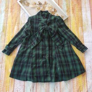 Chicwish Green Tartan Dolly Big Bow Swing Dress S
